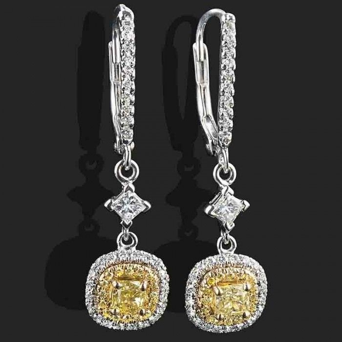 1 34 Tcw Yellow Cushion Cut Diamond Drop Dangle Earrings 14k White Gold